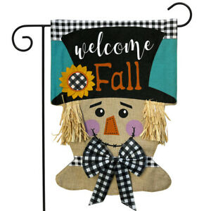 """Welcome Fall Scarecrow Burlap Garden Flag Autumn 12.5"""" x 18"""" Briarwood Lane"""