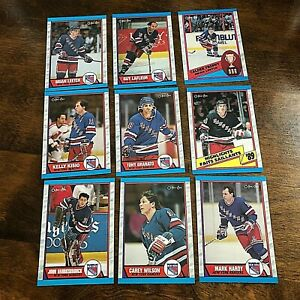 1989-90 O-Pee-Chee  NEW YORK RANGERS 17 card team set    BRIAN LEETCH ROOKIE