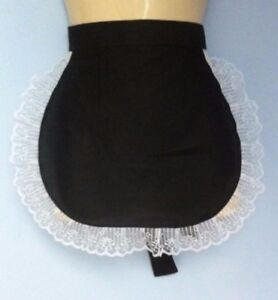 Black adult  waist  pinny apron white lace french maid sissy waitress  catering
