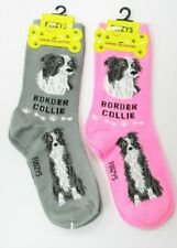 2 Pairs Foozys Border Collie Dog Novelty Socks Womens Crew Socks 1 Gray 1 Pink