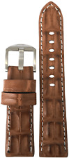24mm XL Panatime Cognac Genuine Hornback Alligator Watch Strap with White Stitch