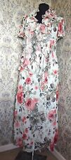Party dress by ROMAN ORIGINALS Size 14 Cream browns coral floral Matching scarf
