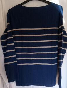 Seasalt long sleeve round neck blue & ivory striped jumper UK 10
