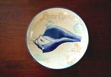 Seashell Ceramic 13.25 x 3 pasta, fruit, Serving Bowl, Blue, Postcard style