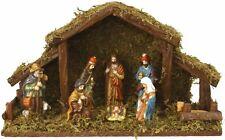 Light Up LED Freestanding Christmas Nativity Set Scene Crib Stable With Figures