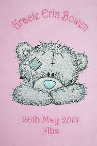 Me To You Happy Face Tatty Bear Personalised Super Soft Fleece Baby Blanket