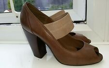 Betty Jackson Studio Brown Chic Leather Open Toe Skin Back Sandals Shoes Sz 4 37