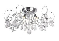 Modern Chrome Swirl 3 Light Crystal Glass Ceiling Chandelier Light BHS Cassidy