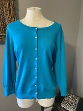 Talbots Blue Sky Stretch Cotton Cardigan Sweater XL Extra Large