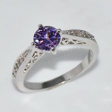Size 6-10 Women's Purple Amethyst Crystal Engagement Ring 10Kt White Gold Filled