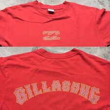90s VTG BILLABONG LOGO SURF SKATE T Shirt 2 Sided Wave Grunge Red Spell Out