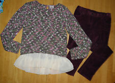 STUNNING HANNA ANDERSSON CHIFFON SWEATER BURGUNDY PANTS GIRLS 150 FALL WINTER
