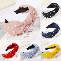 Fashion Bow Knot Beading Hairband Women Hair Head Hoop Sweet Girls Hair Headband