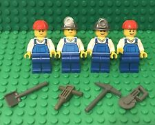 Lego X4 City Construction Worker Mini Figure W/ Hard hat,headlamp,tools Utensil