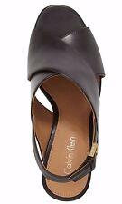New CALVIN KLEIN Sz 9 Black Nubuck/Patent Leather Cindya Slingback Sandals