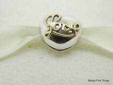 NEW!  AUTHENTIC PANDORA CLIP 2 TONE HEART OF LOVE WITH 14K  #791735  P