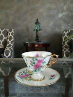 VINTAGE Iridescent Norleans Japan Footed Teacup& Saucer November Chrysanthemum