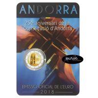 Pièce de 2 euros commémorative ANDORRE 2018 - 25ème anniversaire Constitution