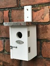 Bird box for small birds chunky wood with tin roof, opening door for cleaning