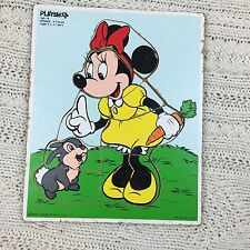 VINTAGE 80S PLAYSKOOL TRAY WOODEN PUZZLE DISNEY MINNIE MOUSE AND BUNNY