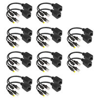 10 Pairs Power Over Ethernet Passive POE Injector Splitter Adapter Cable Kit