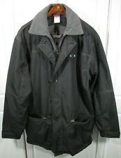 ~ Oakley ~ LARGE BLACK ~ Removable Gray Fleece Lined ~ Jacket / Coat ~ GRAY ~