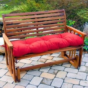 """Porch Swing Cushion Glider Bench Seat 44"""" Tufted Padded Outdoor Patio Pillow Red"""