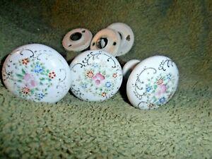 3 Vintage/ Antique VICTORIAN DOOR KNOBS Hand Painted Porcelain Floral