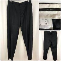 CANALI Men Wool Pleated Front Stripe Luxury Dress Pants Trousers EU 50 / US 34