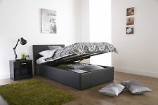 3ft Single Leather Gas Lift Storage Ottoman Bed Available In Black, Brown, White