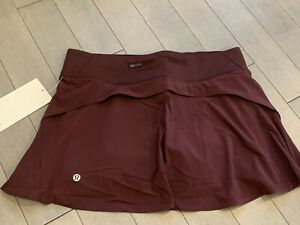 Lululemon Play Off The Pleats Skirt 8 Skort Cassis Burgundy CSSI NEW WITH TAGS