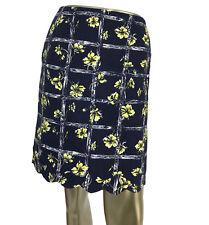 Vintage 1990s Women's Lilly Pulitzer Pencil Skirt Blue Yellow Lattice Floral 4P
