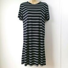 H&M BASIC Womens XSmall Blue White Striped Bodycon Knee Length Fitted Dress B2