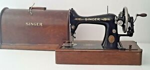 ** 1916 SINGER HAND CRANK SEWING MACHINE 99 99K CASE KEY and Extras WORKS SMOOTH