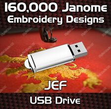 160,000 Janome embroidery pattern design files JEF on USB drive
