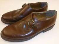 DOCKERS MENS 9 STRAP LOAFERS MONKSTRAP BROWN LEATHER DRESS BUSINESS SHOES Italy