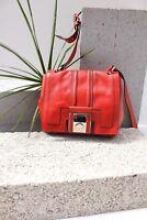 Karen Millen GM161 Red Leather Shoulder Satchel Cross Body Bag Sling Handbag