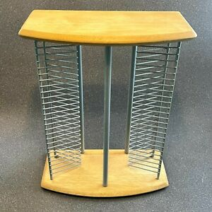 Wood & Metal CD Storage Tower Rack, Stores 50 CDs, 42cm tall. Wooden, Audio CDs