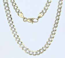"""10k Yellow Gold Cuban Chain Necklace with White Pave 20"""" 4.75mm 12.8 grams"""