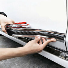 Car Side Skirt Door Sill Sealing Strips Carbon Fiber Silver Protector Edge Strip