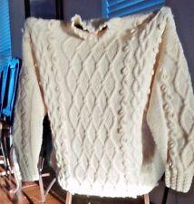 Beautiful Aran Cable Knit Irish Sweater Turtleneck made in Ireland - One Size