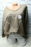 Italy Oversized Pullover Vintage Gr. 36 38 40 42 Sweat Shirt taupe MIckey Mouse