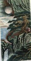 "Origional Watercolor on Silk Painting Wall Art Decor Moonlight in Mountain"""