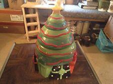 Ceramic Christmas tree cookie jar by Byrd cookies