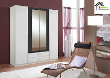#bgerman Made Wardrobe in 3 and 4 Doors With Mirrors in Walnut White Bedroom