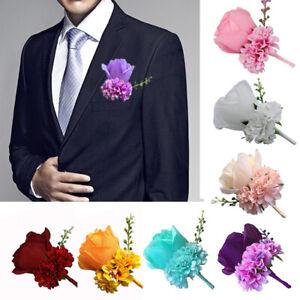 Mens Party Bridegroom Wedding Artificial Rose Corsage Boutonniere Silk Flower