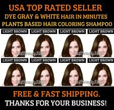 5 SACHETS LIGHT BROWN HERBAL HAIR COLOR SHAMPOO DYE GRAY&WHITE HAIR QUICKLY