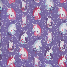 Pretty Unicorns on Purple with Stars Girls Quilting Fabric FQ or Metre *New*