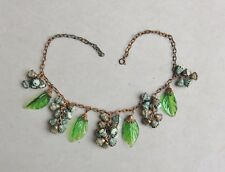 Miriam Haskel? Czech Brass Green Glass Leaf Necklace Faux Pearl Cluster Necklace