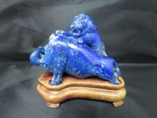 Gem-Quality Natural Lapis Lazuli Bull and Lion Statue with Wood base